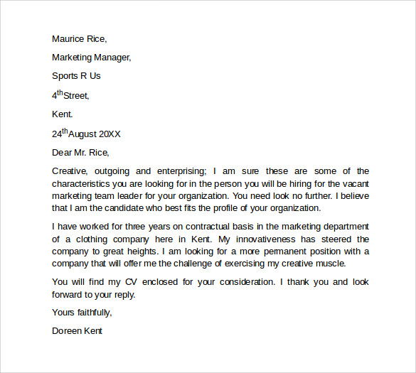 Sample Marketing Cover Letter Template 9 + Download Free Documents