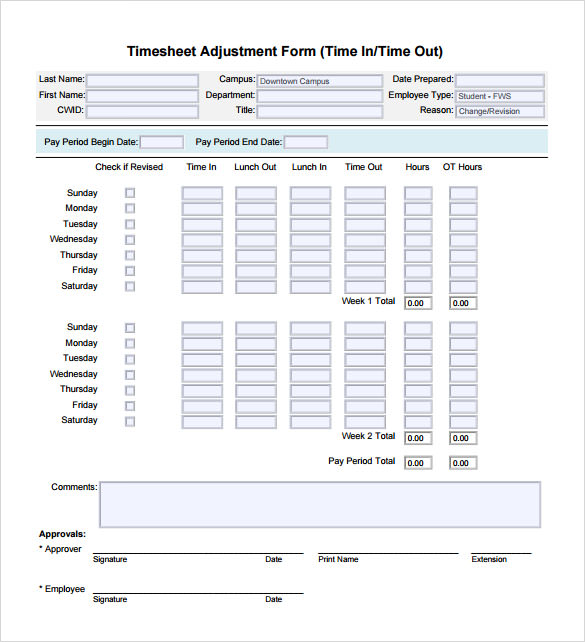 timesheet calculator template free pdf