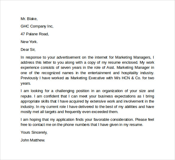 Application Letter Marketing Executive Sales Cover Letter Example