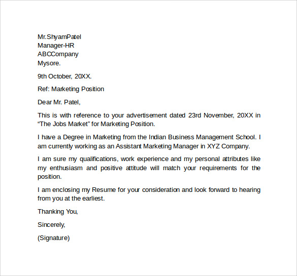 Marketing Job Cover Letter