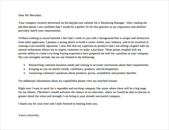 Sample Marketing Cover Letter Template 9 Download Free Resume ...