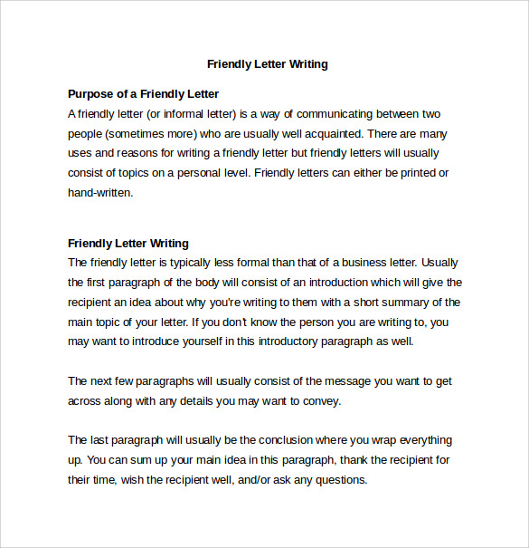 Sample Friendly Letter Writing Format