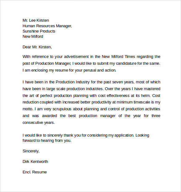 Manager Resume Cover Letter