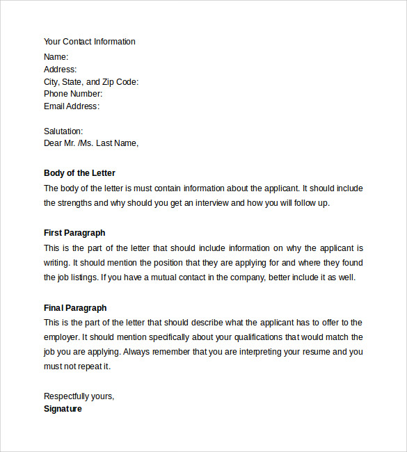Write cover letter in email body