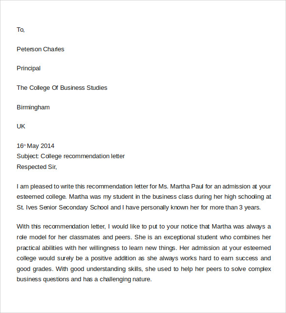 Sample Letter Of Recommendation For College 10 Download Documents