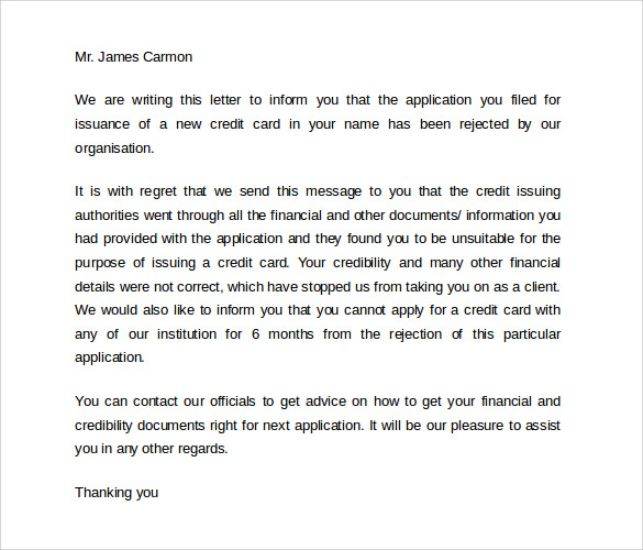 credit card rejection letter