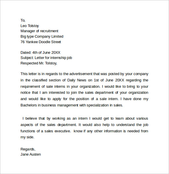 Internship Cover Letter 13 Samples Examples Formats – Sample Internship Cover Letter
