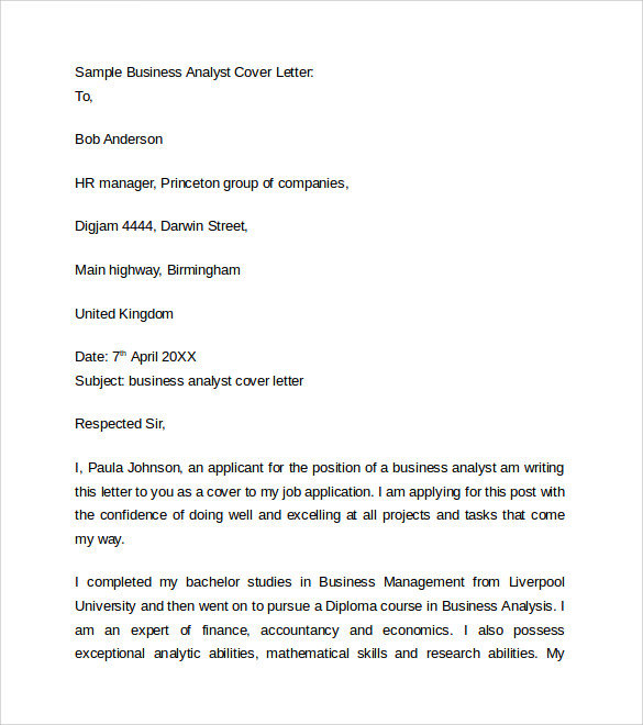 sample business analyst cover letter