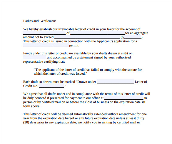 Letter Of Credit   Free Samples  Examples  Formats