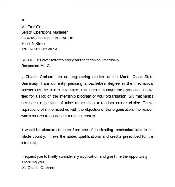 mechanical engineering internship cover letters