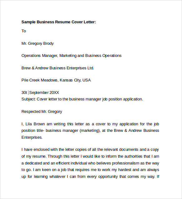 sample business resume cover letter