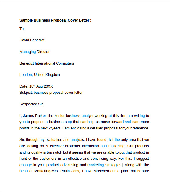 Superior Sample Business Proposal Cover Letter