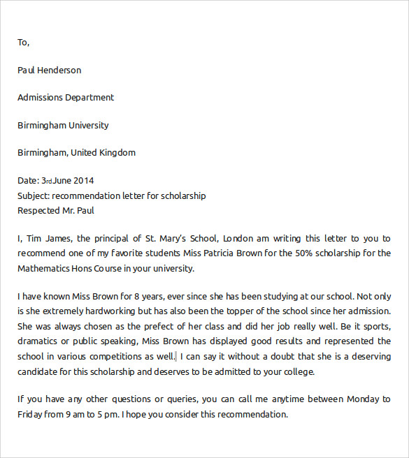 Sample Letter Of Recommendation For College - 10+ Download
