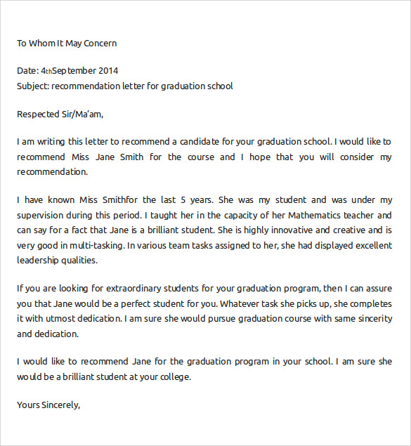 letter of recommendation for college format
