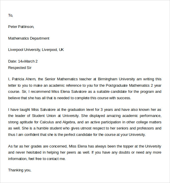 letter of recommendation academic student