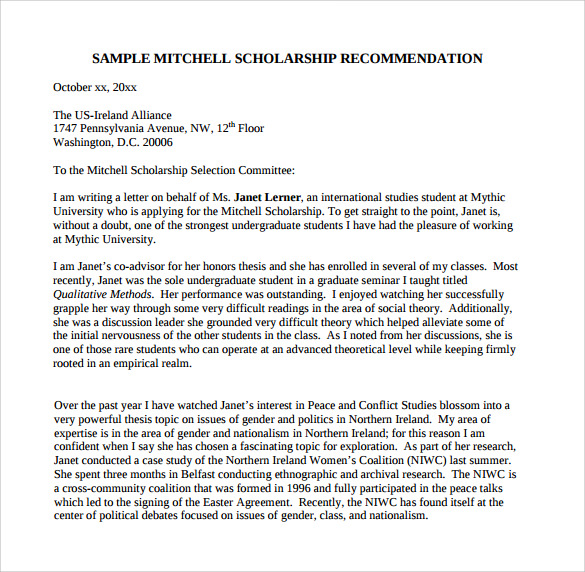 Sample Letter Of Recommendation For College 10 Download