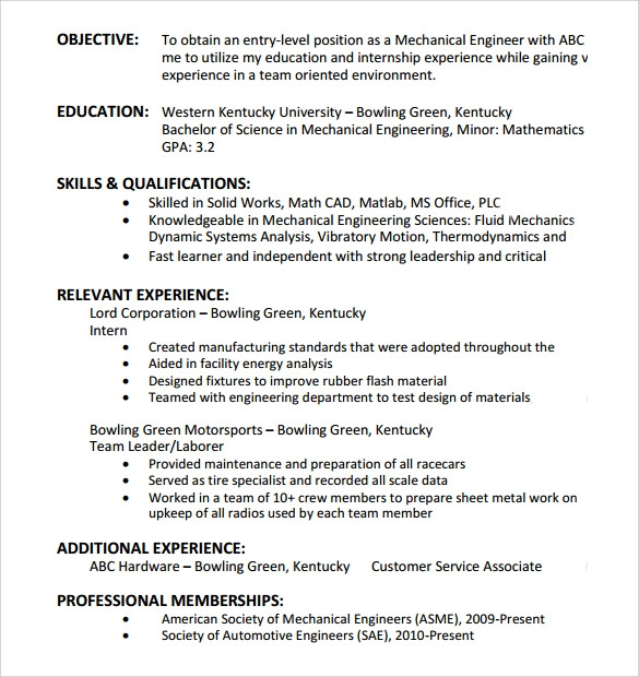 Sample Entry Level Resume   Documents In Pdf Word