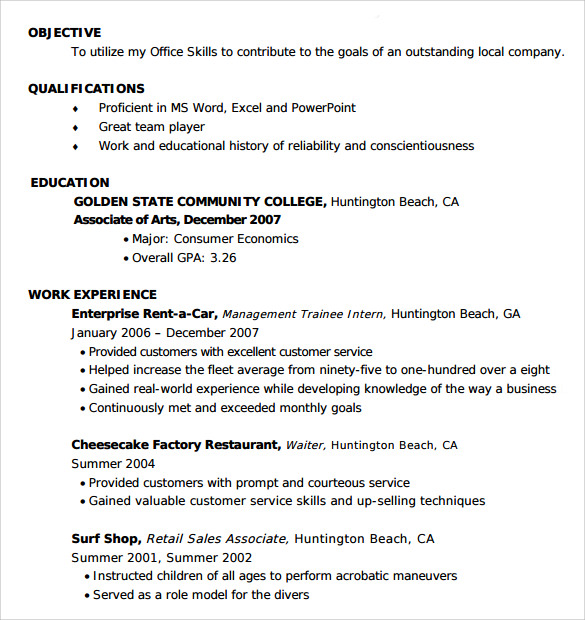 standard entry level resume