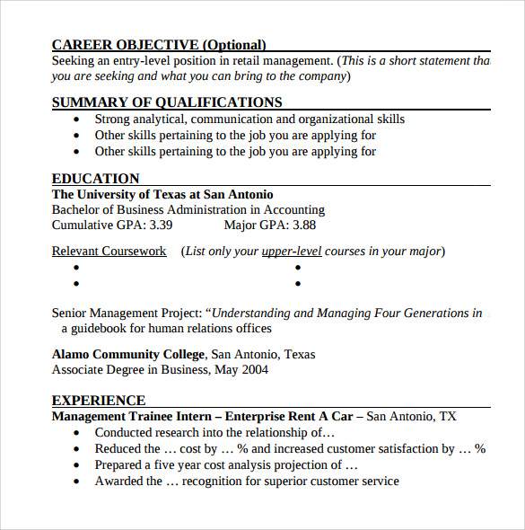 9+ Entry Level Resume Templates to Download | Sample Templates