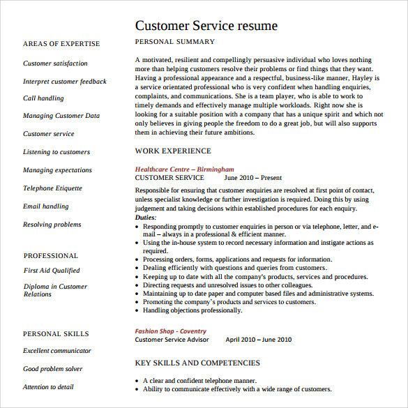 sample customer service resume 10 download free