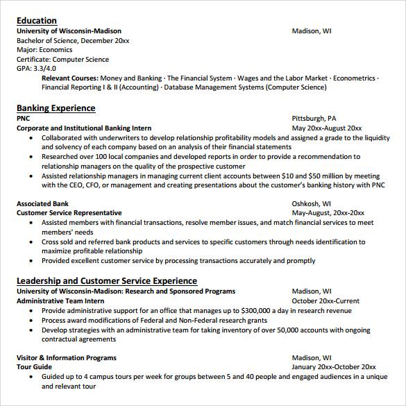 sample customer service resume      download free documents in    bank customer service resume