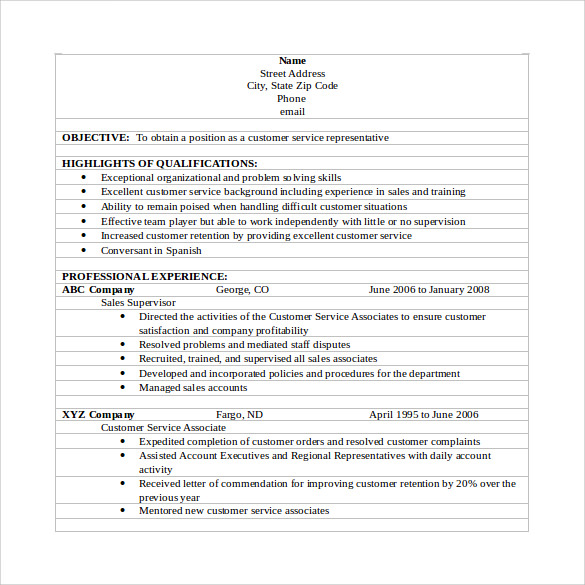 free 10  sample customer service resume templates in pdf