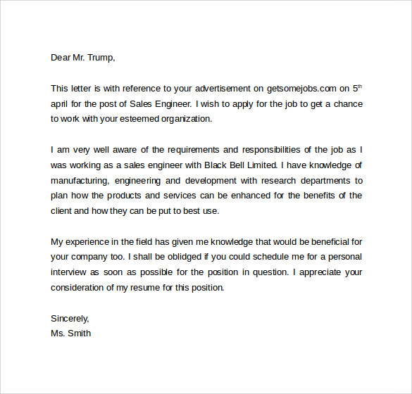 Sales Cover Letter Template 8 Free Samples Examples