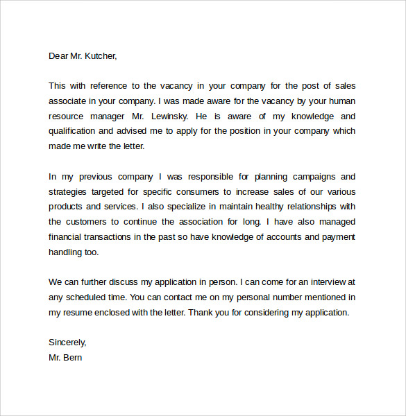 Sales Cover Letter Template    Free Samples  Examples  Format
