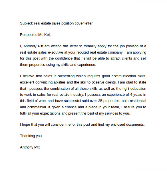 sales cover letter template 8 free samples examples format - Cover Letter For Real Estate Job