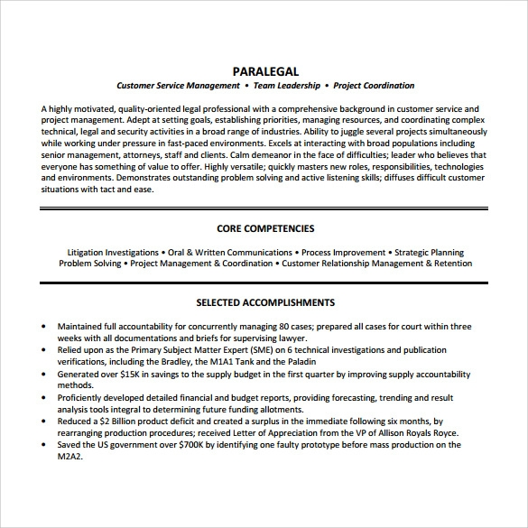 Paralegal Resume 11 Download Free Documents In Pdf