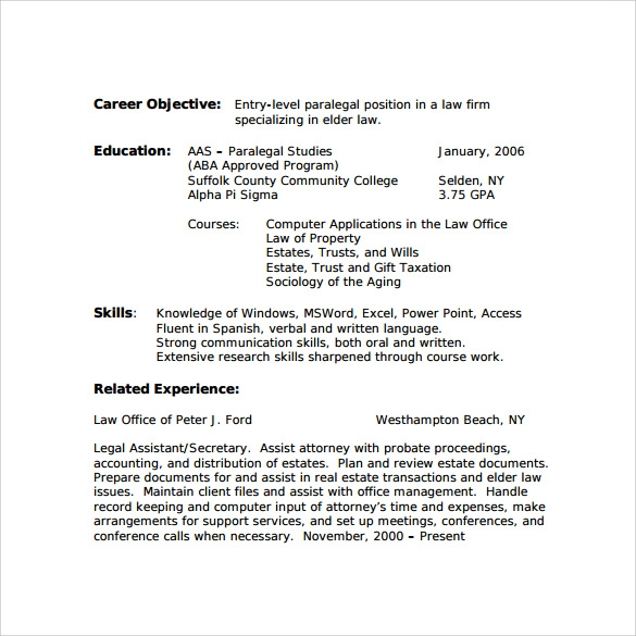 paralegal resume example - Example Of Paralegal Resume