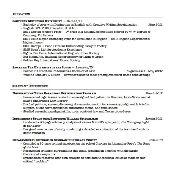 sample paralegal resume
