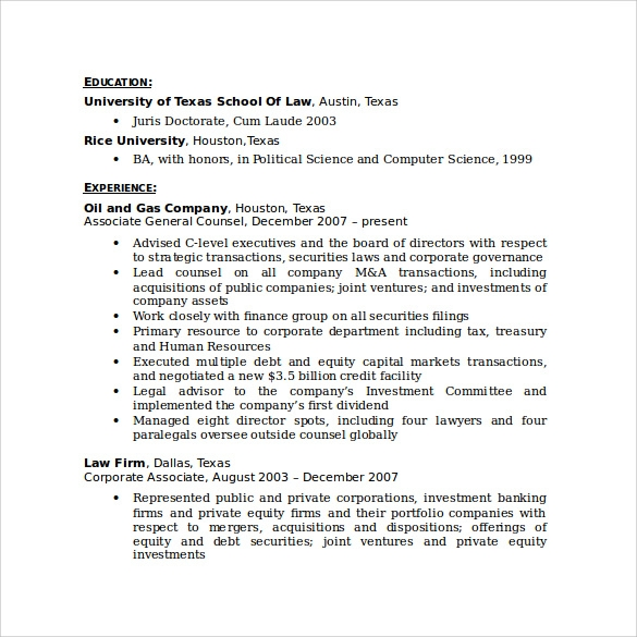 Sample Paralegal Resume  11 Download