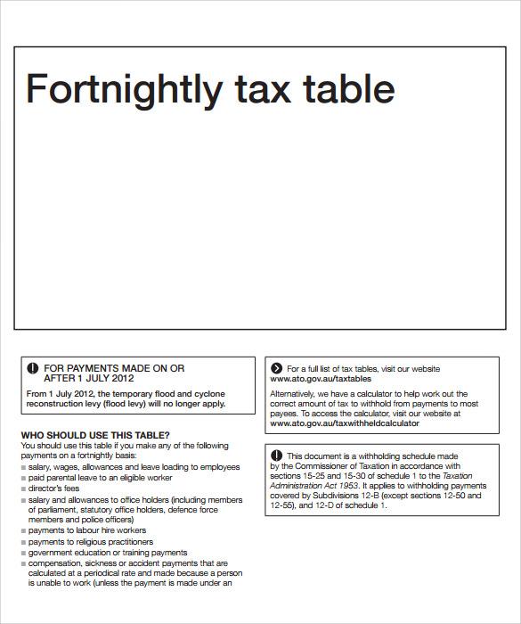 free income tax calculator sheet