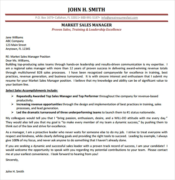Marketing Cover Letter Template Examples to Download