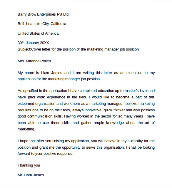 Cover Letter For Chemist Position Cover Letter Example Management Cover  Letter Templates Free Sample Of A