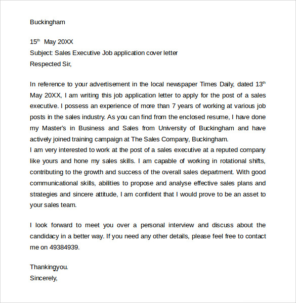 Sample Job Application Cover Letter 10 Free Documents In