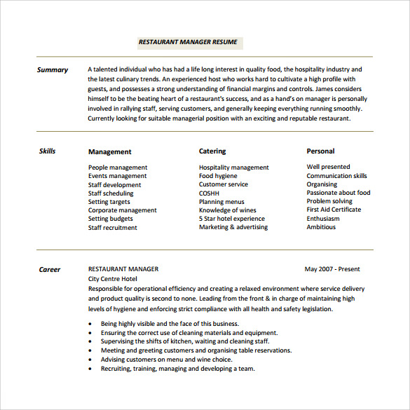 restaurant resume 10 download free documents in pdf