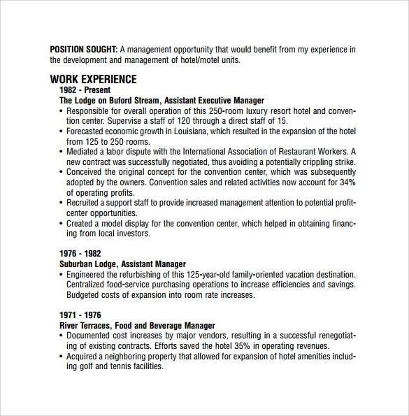 9 Sample Restaurant Resume Templates