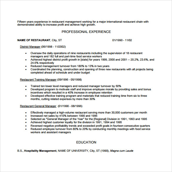 sample restaurant resume