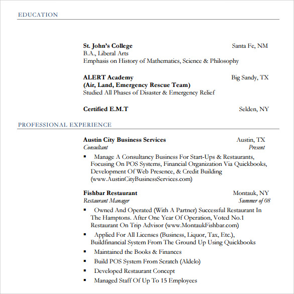 sample pdf restaurant resume