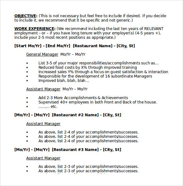 restaurant resume 10 download free documents in pdf word sample