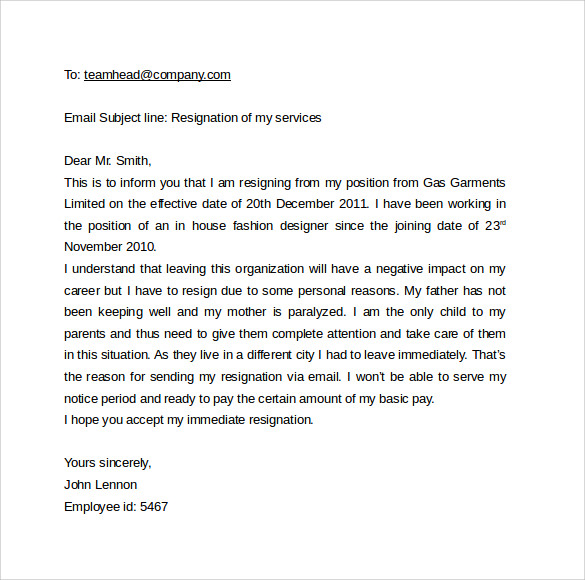 Sample Email Cover Letter Template To Download