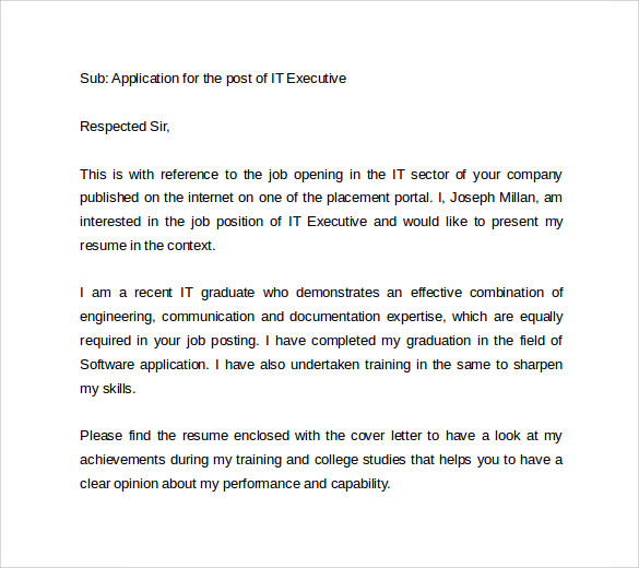 IT Job Application Cover Letter  Job Application Cover Letters