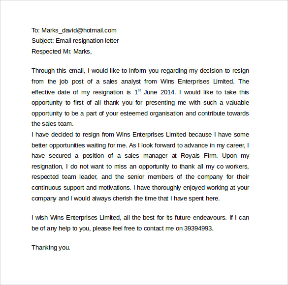 Sample Email Cover Letter Template To Download - 11 + Free