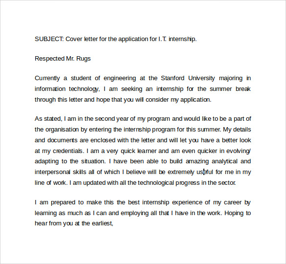 it cover letter templates free sample example format
