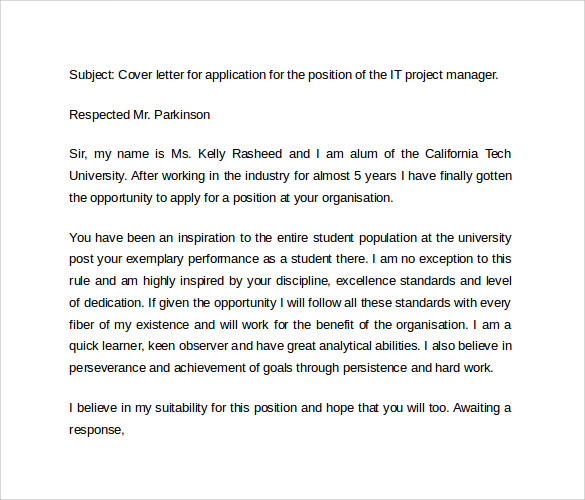 sample it cover letters