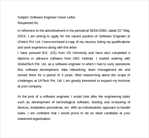 internship cover letter software engineer 7 it cover letter templates free sample example format 22197 | Software Engineer Cover Letter