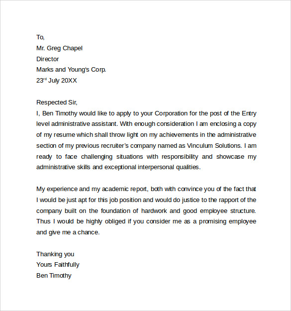 Administrative Assistant Cover Letter Template 9 Free Samples