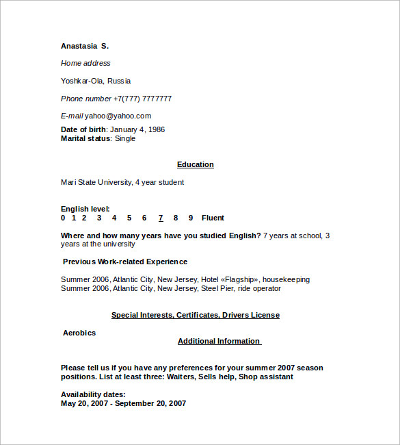 12  sample housekeeping resumes